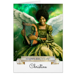 Happy Birthday. Angel with Harp Greeting Cards