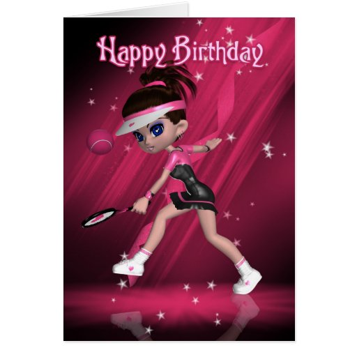 Happy Birthday - Anyone For Tennis? Greeting Cards