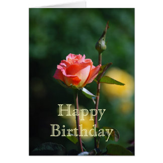 Happy Birthday Apricot and Yellow Rose Card
