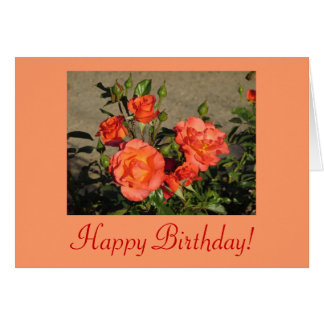 Happy Birthday! Apricot Cathedral Roses Card