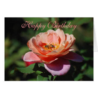 Happy Birthday Apricot & Lavender Rose Honeybee Card