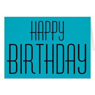 Happy Birthday, aqua blue, Card