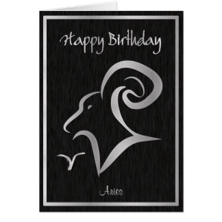 Happy Birthday Aries Elegant Horoscope Card