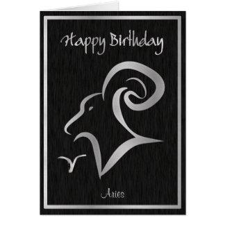 Happy Birthday Aries Elegant Horoscope Greeting Card