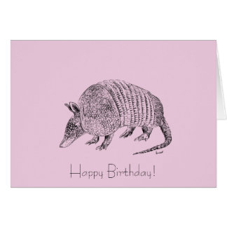 Happy Birthday Armadillo Art Card