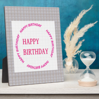 Happy Birthday art on Crystal Stone Tile Display Plaque