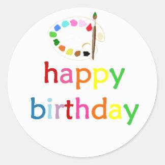 Happy Birthday Art/Paint Party Bella Bella Studios Round Stickers