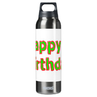 Happy Birthday -  Artistic Text Script 16 Oz Insulated SIGG Thermos Water Bottle