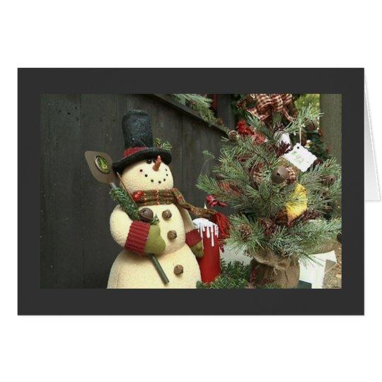 HAPPY BIRTHDAY AT CHRISTMAS / CHRISTMAS SNOWMAN CARD