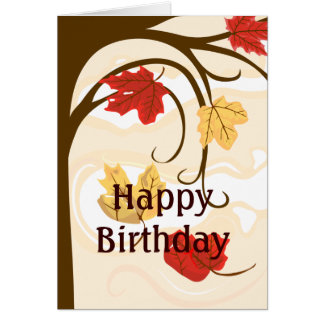 Happy Birthday Autumn Leaves Greeting Card