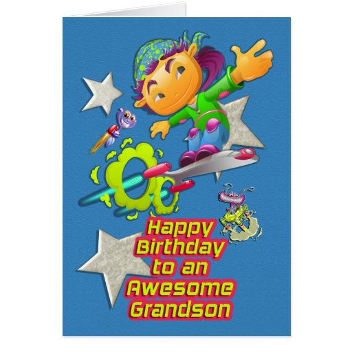 Happy Birthday Awesome Grandson Skateboarder Boy Greeting