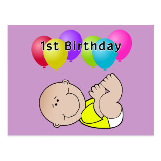 Happy Birthday Baby in Yellow Postcard