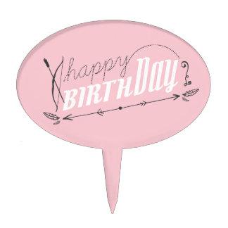 Happy Birthday Baby Pink Retro Scroll Fun Custom Cake Picks