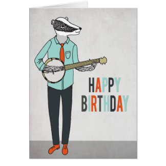 Happy Birthday - Badger playing Banjo Greeting Car Greeting Card