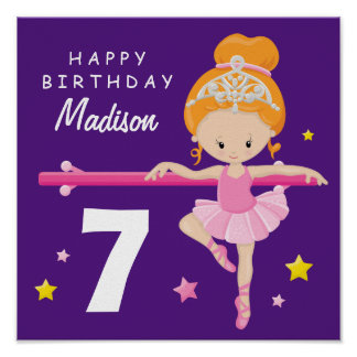 Happy Birthday Ballerina Poster