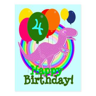 Happy Birthday Balloon 4 Purple T-Rex Postcard