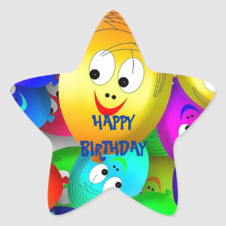 Happy Birthday Balloon Faces Star Sticker