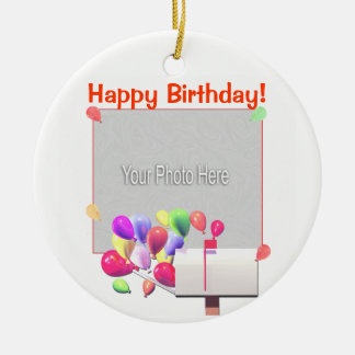 Happy Birthday Balloon Mail (photo frame) Christmas Ornament