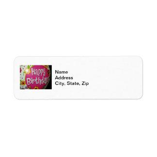Happy Birthday Balloon w/ Flowers, Balloon Design Return Address Label
