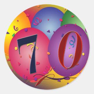 Happy Birthday balloons - 70th birthday Round Sticker
