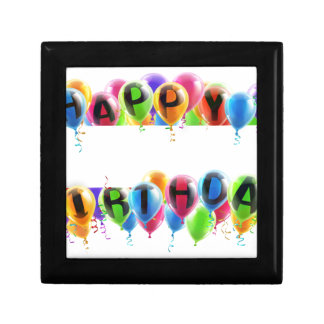 Happy Birthday Balloons Banner Small Square Gift Box