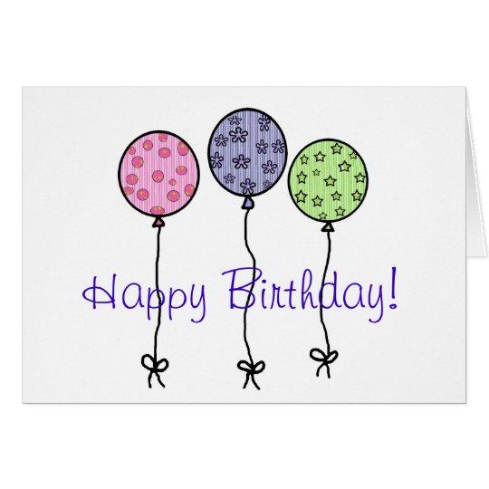 Happy Birthday Balloons blank card