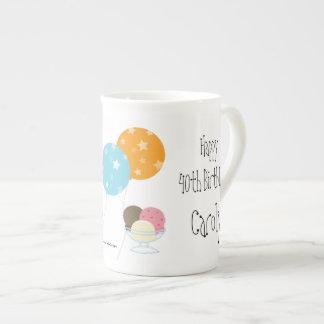 Happy Birthday/Balloons+Cake-Customize Name+Age Bone China Mug