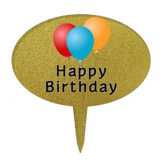 Happy Birthday Balloons Cake Picks