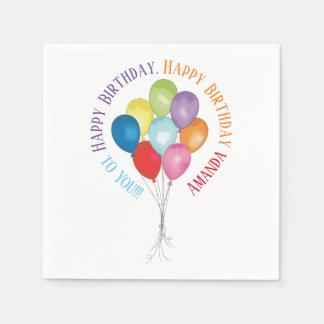Happy Birthday Balloons Editable Paper Napkins