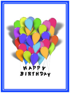 Happy Birthday Balloons For Boy Blue Trim Postcard