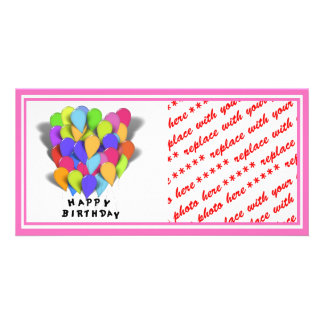 Happy Birthday Balloons for Girl Pink Border Picture Card