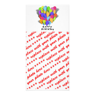 Happy Birthday Balloons for Girl (Pink Border) Customized Photo Card