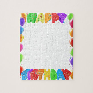 Happy Birthday Balloons Invite Border Frame Jigsaw Puzzle