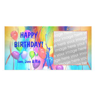 Happy Birthday Balloons Photo Card Template