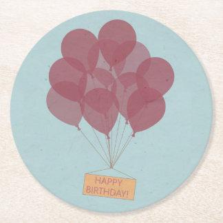 Happy birthday balloons round paper coaster