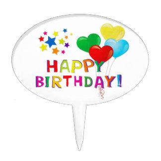 Happy Birthday Balloons Stars Cake Pick