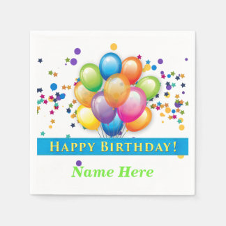 Happy Birthday Balloons - TEMPLATE CUSTOMIZE Disposable Napkin