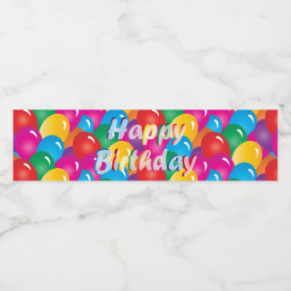 Happy Birthday Balloons Water Bottle Label