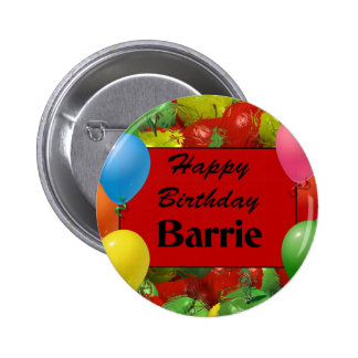 Happy Birthday Barrie 6 Cm Round Badge