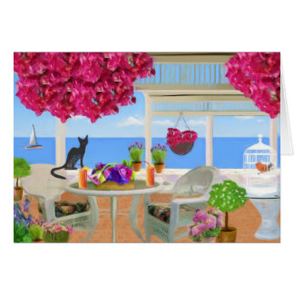 Happy Birthday Beach Ocean Veranda Greeting Card