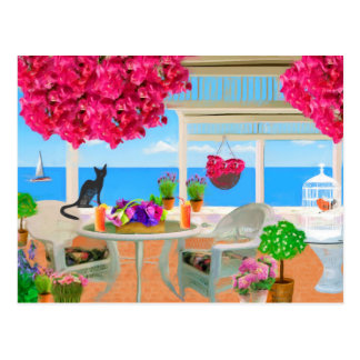 Happy Birthday Beach Ocean Veranda Scene Postcard