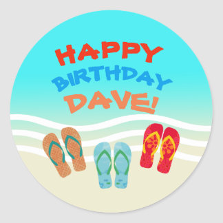 Happy Birthday Beach Party Personalized Classic Round Sticker