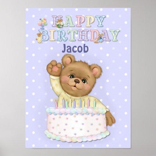 Happy Birthday Bear Boy - Customize Posters
