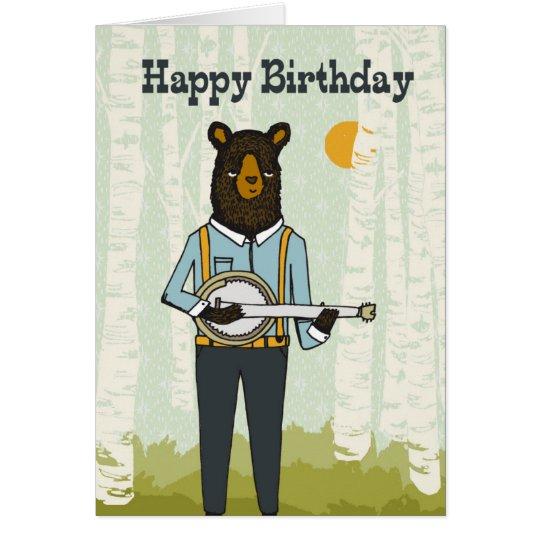 Happy Birthday - Bear playing Banjo Birthday Card
