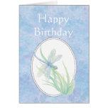 Happy Birthday Beautiful Blue Dragonfly Greeting Card