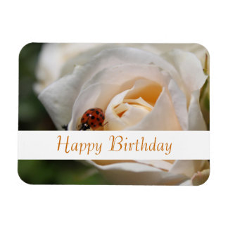 Happy birthday Beautiful white rose flower Rectangle Magnet