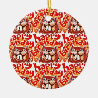happy birthday beaver cartoon style illustration round ceramic decoration