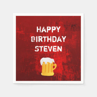 Happy Birthday Beer Mug on Grunge Red Abstract Disposable Serviettes