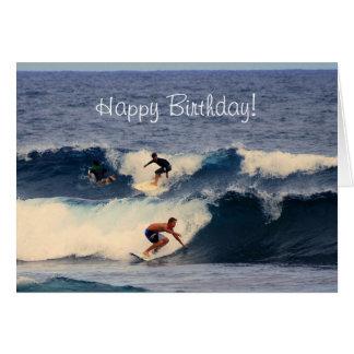 Happy Birthday Big Island Hawaiian Surfers Greeting Card