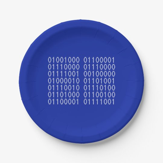 Happy Birthday Binary Code Your Colours Paper Plate